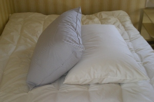 Rousay Station pillows on a regular thickness mattress pad