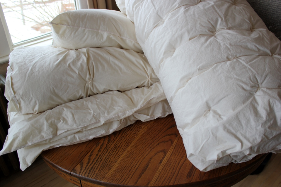 clockwise: Duvet,Pillow, Mattress Pad