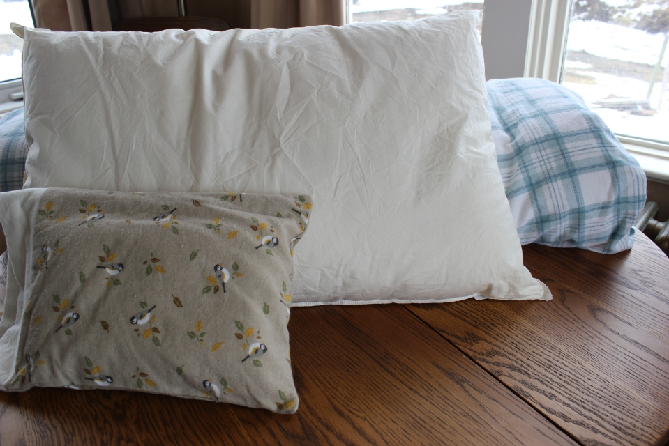 front to back: Travel Pillow, Queen Pillow, ( couch duvet)